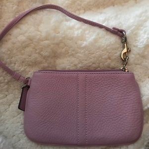Coach pebble leather wristlet in lilac . NWOT